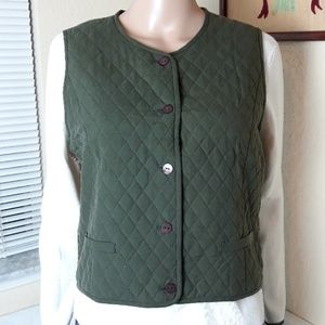 Pendleton Silk Green Quilted Vest